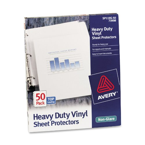 Avery Top Loading Vinyl Sheet Protectors, Heavy Gauge, Nonglare, 50 per Box (73908)