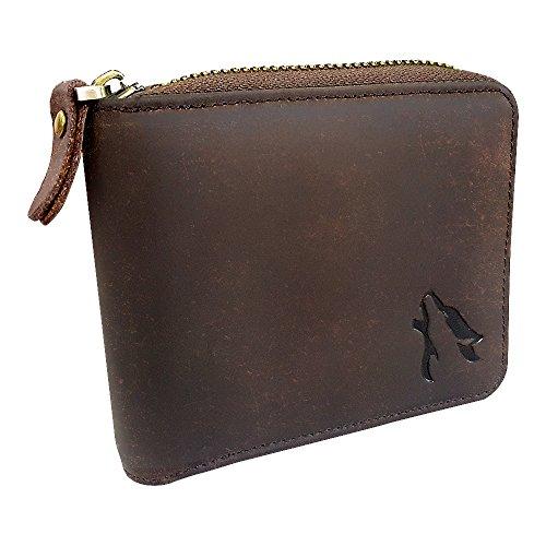 HEMWOLF Men's Real Genuine Leather RFID Blocking Heavy-Duty Zip Around Bifold Wallet, Full Grain Leather Texas Brown ()