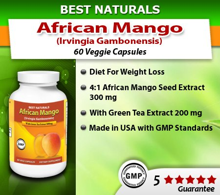Meilleur Naturals mangue africaine avec le thé vert, Mg, 500 mg, 60 capsules Vegi (Afrique extrait de graine de mangue (4:1) équivalent à 2000mg de mangue africaine pure (Irvingia Gambonensis)