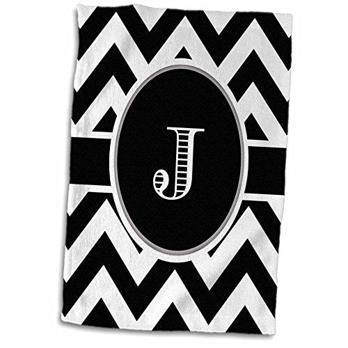 3D Rose Black and White Chevron Monogram Initial J Hand Towel, 15