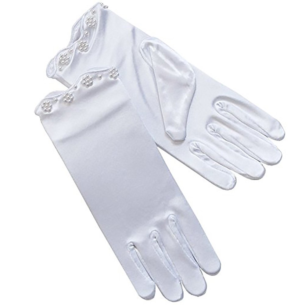 First Communion Gloves White Stretch Satin with pearls & adorable scalloped finish (White, Medium 7-12yrs)