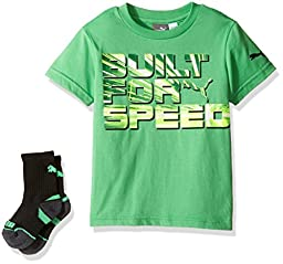 PUMA Big Boys\' Graphic Tee and Sock, Field Green, Large (14/16)