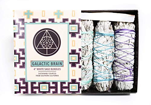- Galactic Brain 4 Inch White Sage Bundles | 3 White Sage Smudge Sticks in Smudge Kit | with 2 Sample Palo Santo Sticks and 1 Selenite Crystal in Gift Set for Cleansing Your Home