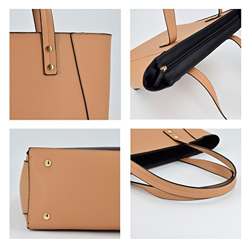 ESA Womens Tote Shoulder Handbags PU Leather Satchel Top handle Purse with Top Zip (Tan mix) by E.S.A. (Image #5)