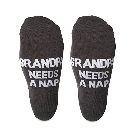 Pavilion - Grandpa Needs A Nap - Dark Gray Mens Cotton Blend Socks