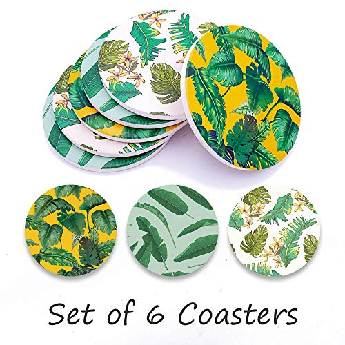 Coasters For Drinks, Personalized Coasters Absorbent Ceramic Drink Coaster Table Coaster Party Favors for Bar Home Living Room Decorations, House Warming Gift, 6 Pieces (Green Plant)