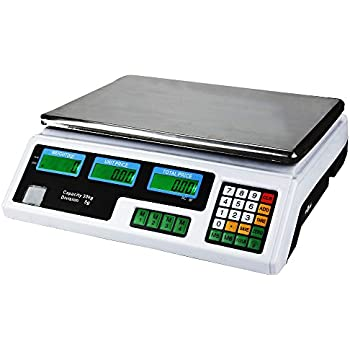 Digital Weight Scale 60LB 30KG Meat Food Fruit Produce Price Electrical Computing Retail Counting Equipment for Kitchen Stores Restaurant Market Farmer
