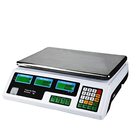 Flexzion Digital Weight Scale 60LB 30KG Meat Food Fruit Produce Price Electrical Computing Retail Counting Equipment For Kitchen Stores Restaurant Market Farmer (Restaurant Kitchen Equipment)