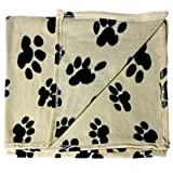 bogo Brands Large Fleece Pet Blanket with Paw Print Pattern Fabric – 60 x 39 Dog and Cat throw (Tan & Black) For Sale