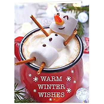 Cocoa Snowman Holiday Card Pack - Set of 25 cards - 1 design, versed inside with envelopes (54099)
