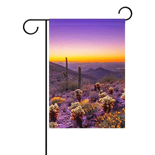 Home Desert Sunset Cactus Mountains Polyester Fabric Garden
