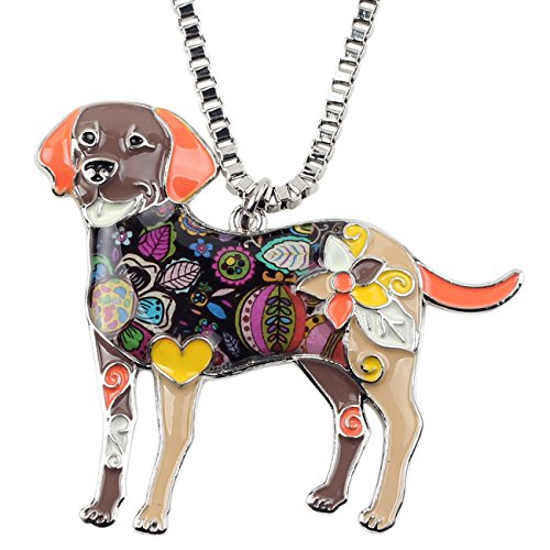BONSNY Love Pets Enamel Zinc Alloy Labrador Retriever Necklace Dog Animal Pendant Women Jewelry (Labrador Retriever Jewelry)