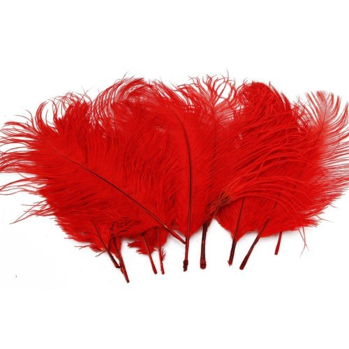UPC 701354062064, MERSUII 50 Pcs Home Decor Ostrich Feathers 10-15cm (Red)