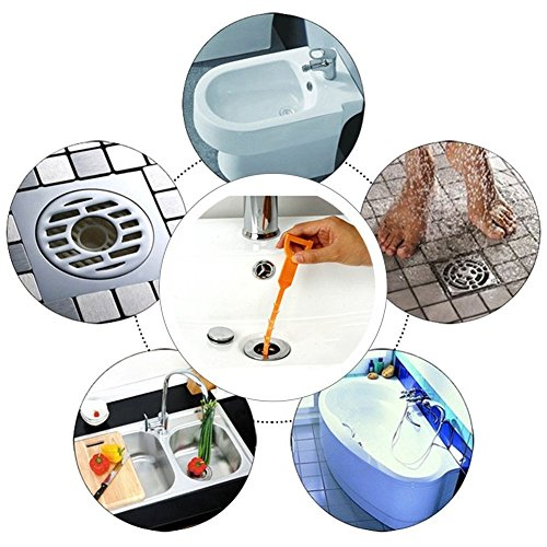 Details about  /5 Pack Drain Hair Cather 20 Inch Drain Snake Shower Drain Hair Trap Clog Remover