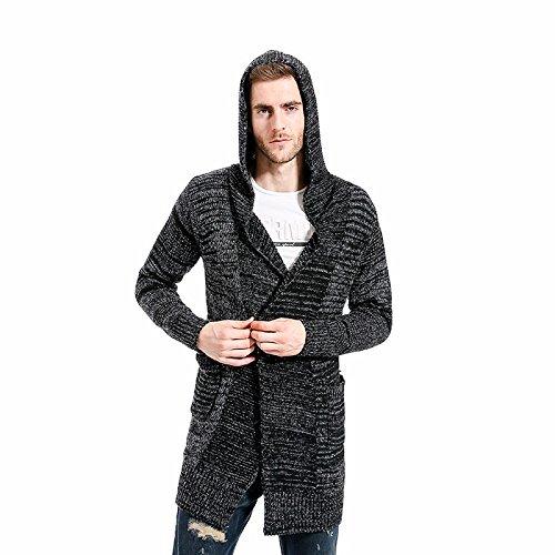 OME&QIUMEI Herren Sweater Mit Kapuze Langes Fell Größe Schwarz Pullover