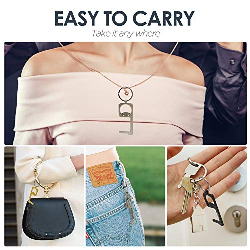 No Touch Door Opener Tool,No Touch Hand Tool Multitools non-Contact Door Opener with Bottle Opener,Stylus Pad and Key Ring 4PCS (Style Three) (Handle Pull)