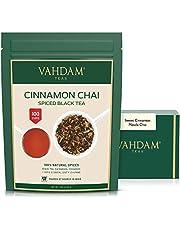 VAHDAM, Cinnamon Masala Chai Tea (100 Cups)   100% Natural Spices   Ancient Cinnamon Tea Recipe   Spiced Chai Tea Loose Leaf   Brew Hot Tea, Iced Tea or Chai Latte   Black Tea   7oz