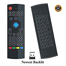 Mini keyboard air mouse QQPOW MX3 Multifunctional 2.4 G Backlight Air Mouse Remote Control with Mini Wireless Qwerty Keyboard and Infrared Learning for Android TV Box, Smart TV, PC, Windows XP ,HTPC, Mac OS, Linux.