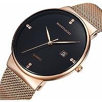 [Patrocinado] Para hombre Fashion FECHA Slim relojes de cuarzo analógico esfera de color negro con banda de malla de acero inoxidable de oro, M, Negro