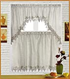 Fancy Kitchen Window Curtains Fancy Collection 3pc Linen Color with Embroidery Kitchen/cafe Curtain Tier and Valance Set (Kitchen Curtain, Linen)
