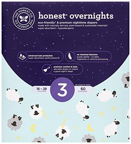 The Honest Company Club Box Overnight Baby Size 3 (60 Count), Sleepy Sheep