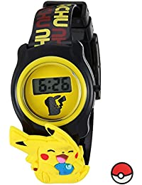Pokemon Kids' POK3085 Digital Display Quartz Black Watch