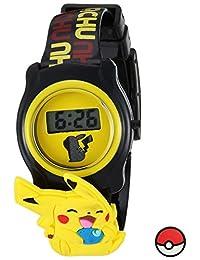 Pokemon plástico de cuarzo reloj Casual, Color: Negro (Modelo: pok3085)