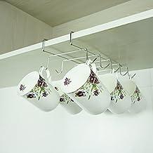 Mkono Under Cabinet Stainless Steel Mug Cup Holder Drying Rack Kitchen Hanging Organizer