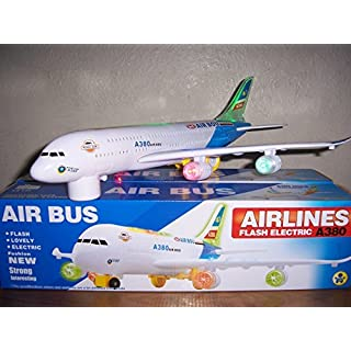 Top Race A380 Airplane Toys for 1 2 3 4 5 6 7 Years Old and up Plane Toy Model with Lights and Music, Bump and Go Airpalne Toy for Boys and Girls…