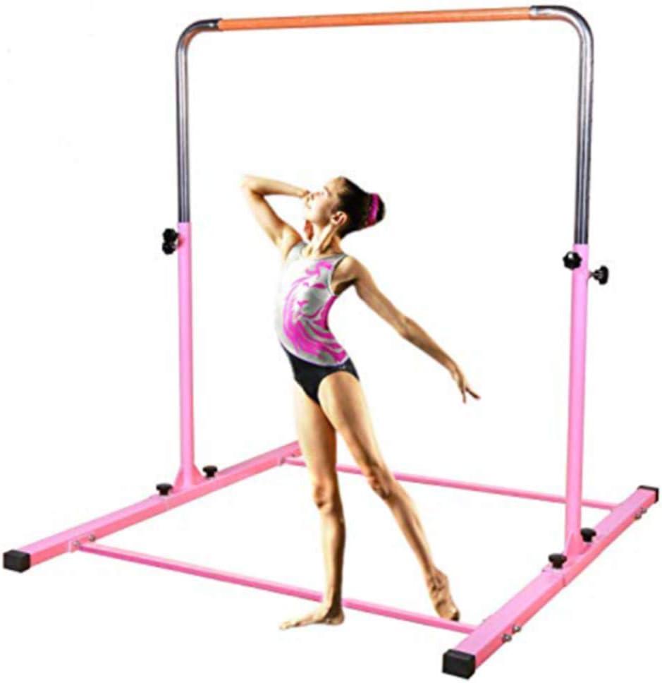 TJフィットネス体操トレーニングbar-高さ調節可能な3 ' to 5 '水平Kipバーfor Kids (ピンク)