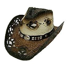 Modestone Unisex Straw Cowboy Hat Brown Off White