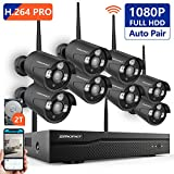 [Better Than H.264] Security Camera System Wireless,SMONET 8CH 1080P H.265 Wireless CCTV Camera System 8pcs 2.0MP HD Security Cameras 2TB Hard Drive, P2P WiFi Security Camera System,Black