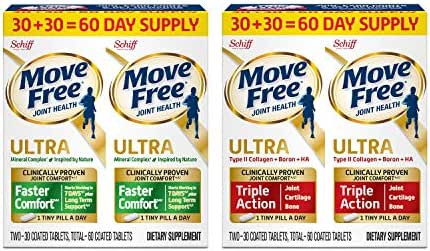 Move Free Type II Collagen, Boron & HA Ultra Triple Action Tablets(60) and Advanced Ultra 2-in-1 with Comfortmax, Clinically Proven Joint Support, 60 Count