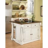 Off White Kitchen Cabinets Home Styles 5021-948 Monarch Kitchen Island with Granite Top and 2 Stool, Antiqued White Finish