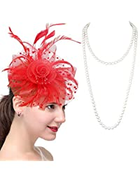 LOYALLOOK Fascinators Hat Flower Mesh Ribbons Feathers Headband Clip Pearl Necklace Party Headwear for Girls and Women