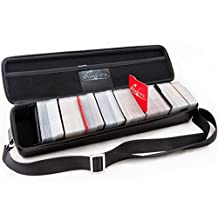 Portable Game Card Carrying Case, Stylish PU Leather Exterior with Double Zipper, Dividers, Wrist Strap & Shoulder Strap | Holds up to 1350 Cards | Deck Box Compatible | Plus: 100 Transparent Sleeves