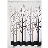 InterDesign Forest Shower Curtain, Gray and Black, 72x84-Inch