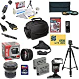 """47th Street Photo Pro Shooter Accessory Kit for the Canon Rebel T2i, T3i, T4i, T5i, 650D, 700D, Kiss X5 Kiss X4, KissX6i, Kiss X7i, EOS 550D, 600D DSLR Digital Camera - Kit Includes: 64GB SDXC Card + Card Reader + 2 Extended Life Batteries + Charger + 58mm 0.43x HD2 Wide Angle Macro Fisheye Lens + 58mm 2.2x HD2 AF Telephoto Lens + 58mm 3 Piece Pro Filter Kit (UV, CPL, FLD Lens) + HDMI Cable + Padded Gadget Bag + Professional 60"""" Tripod + Stabilizing Handgrip & Handgrip Strap + Lens Cleaning Pen"""