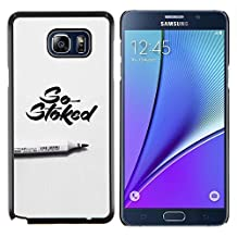 Planetar® ( Stoked Marker Calligraphy Grey Pen ) Samsung Galaxy Note 5 5th N9200 Hard Printing Protective Cover Protector Sleeve Shell Case Cover