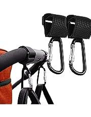 HyAdierTech 2-pack barnvagnskrok barnvagnsklämmor barnvagnskrokar med lås för barnvagn shoppingväska rullstol användning och byte väska – universell passform, (svart)