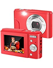 Point Shoot Digital Cameras, Video Camera Mini Camera Vlogging Camera LCD Screen 16X Digital Zoom 36MP Rechargeable Point and Shoot Camera for Compact Portable Kids Teens Gift… (2.4 inch Red)
