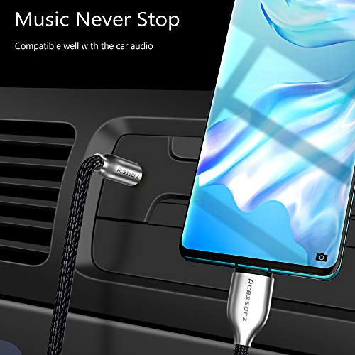 USB C to 3.5mm Audio Aux Jack Adapter, Acessorz Zinc Alloy Type C to 3.5mm Male Extension Headphone Audio Stereo Cord Cable for iPad Pro 2018, Google Pixel 2/3/4 XL, OnePlus, Type-c Devices - 1.2m/4ft