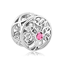 Charmed Craft Lucky Family Tree of Life Jan-Dec Birthstone Celtic Knot Crystal Charm Bead Sale Cheap For Bracelets