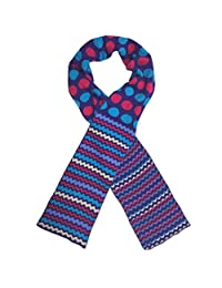 Jefferies Socks Girls Purple Chevron Stripe Dot Pattern Cotton Knit Scarf