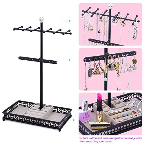 Meangood Jewelry Tree Stand Organizer 3in1 Necklace Organizer Display Bracelet Earrings and Ring Tray Jewelry Holder Hanger Metal(Black)