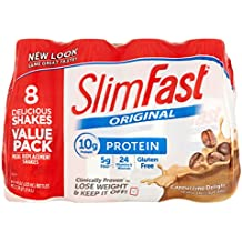 SlimFast Ready to Drink Bottles, Cappuccino Delight Meal Replacement Shake, 11-Ounces, 8 Count (Pack of 6)