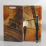 Locaa(TM) For Huawei Google Nexus 6P Nexus6P New Leather Case Retro Style Building Cute Cartoon Leather Folio Case Cover Wallet Card Holder Shell Magnetic Flip Case + Gift Present [Picture Series] - Eiffel memories