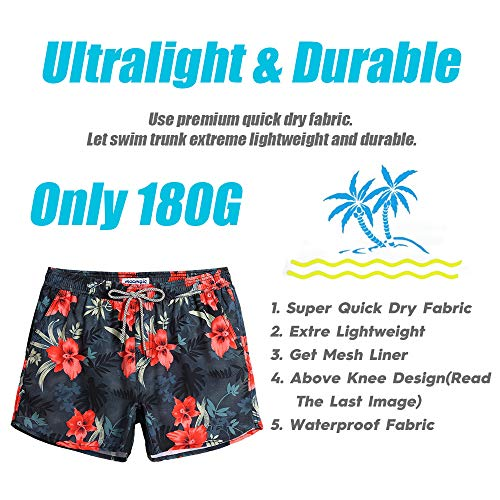 MaaMgic Mens Boys 80s 90s Vintage 4 Way Stretch Swim Trunks with Mesh Lining Quick Dry Swim Suits Board Shorts