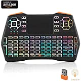 (Updated 2018 Backlit) i8 Plus Running Rainbow Backlit Mini Wireless Keyboard with Touchpad Mouse, LNSLNM 2.4GHz Rechargeable Combos Handheld Remote Control for Smart TV, Laptop, PC, Projector, TV Box