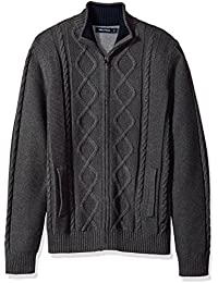 Men's Long Sleeve V-Neck Cable Sweater